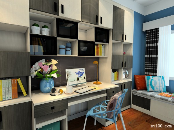 欧式书房设计 黑白经典展现_维意定制家具商城
