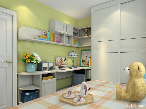榻榻米衣柜一体化书房 加上颜色渲染增添田园美_维意定制家具商城