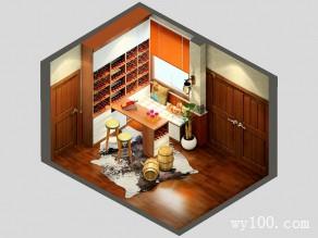 书房实木家具 12�O给主人一个舒适的品酒环境_维意定制家具商城