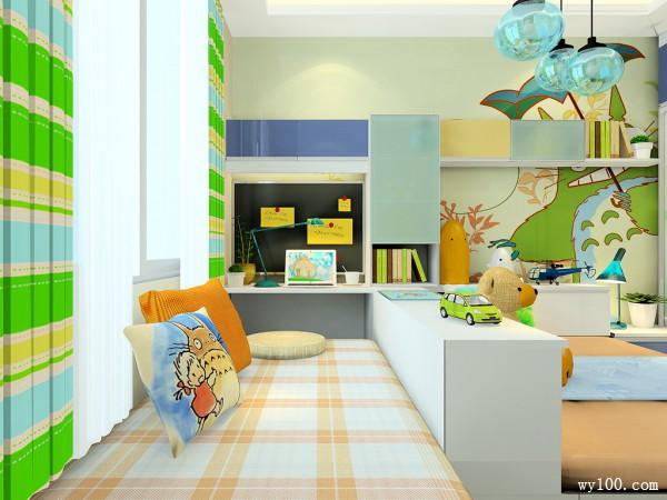 可爱儿童房间效果图 10�O榻榻米的组合形式_维意定制家具商城