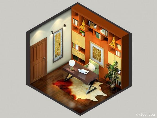 书房木隔断效果图 10�O中间区域设计成隐形床_维意定制家具商城