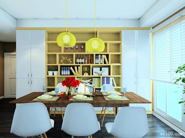 蓝调风格客餐厅效果图 38�O简约大气的背景墙_维意定制家具商城