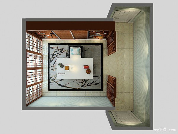 古典风格书房效果图 24�O凸显出现代书房的墨韵_维意定制家具商城