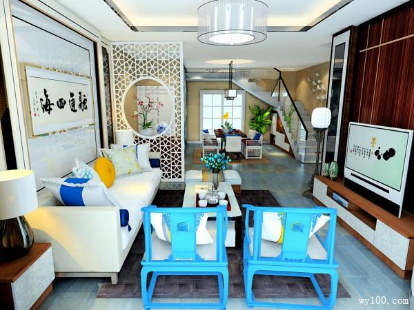 中式客餐厅效果图 空间大气让人洋溢的中国风_维意定制家具商城