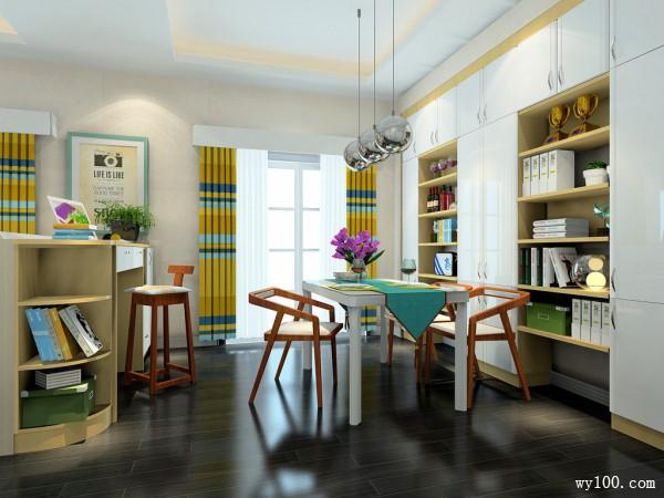 简约客餐厅效果图 吧台设计使整体空间清新时尚_维意定制家具商城