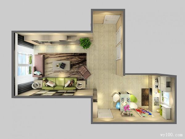 简约现代客餐厅效果图 44平彰显华美气质_维意定制家具商城