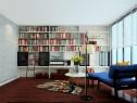现代欧式书房 整体到顶书柜利用滑轨爬梯_维意定制家具商城