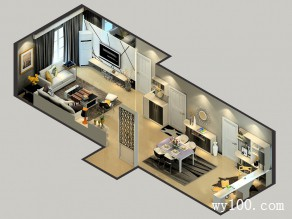 欧式风格客餐厅 黑白色经典搭配素雅大方_维意定制家具商城