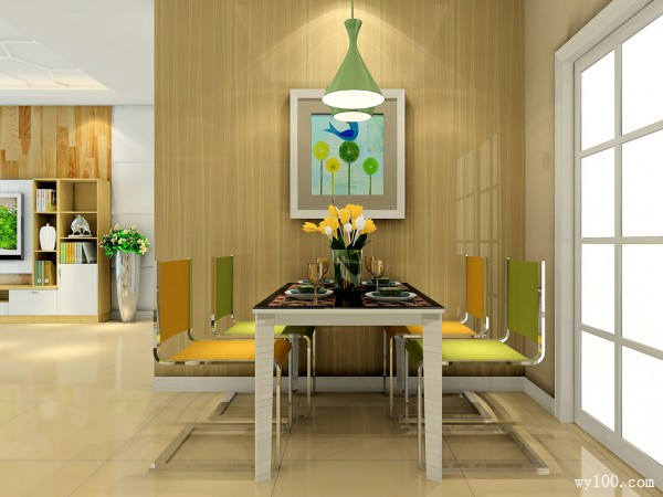 暖色调简约客餐厅 黄绿色设计充满温馨氛围_维意定制家具商城