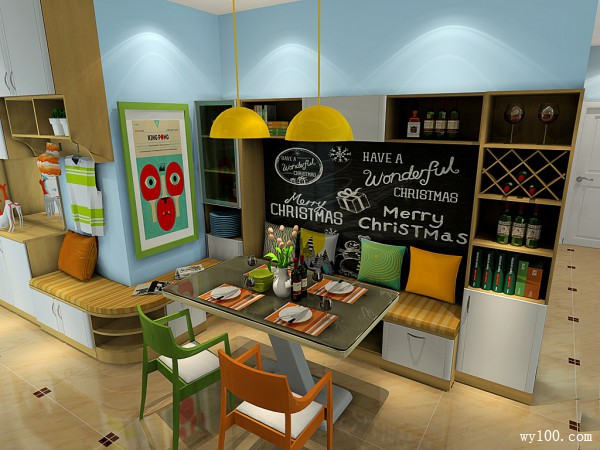 鞋柜卡座连接客餐厅 使整个空间有连接的时尚感_维意定制家具商城