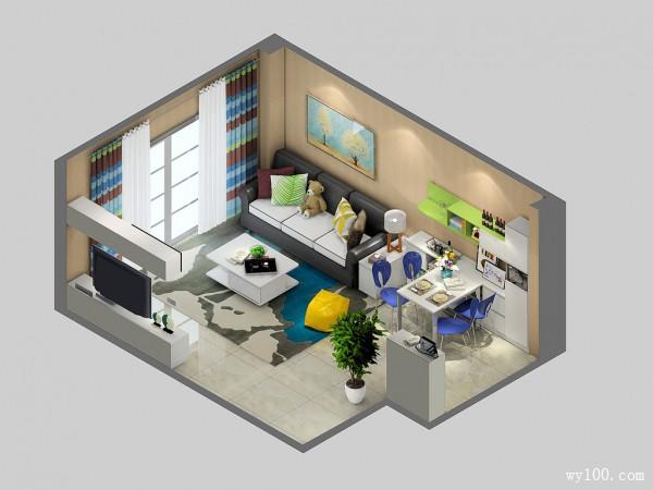 美式客餐厅效果图 23�O嵌入式的餐桌_维意定制家具商城