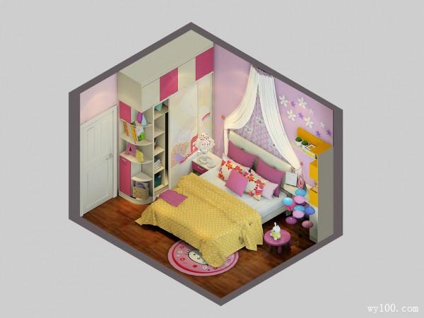 儿童房装修效果图 11�O充满女孩甜蜜温馨_维意定制家具商城