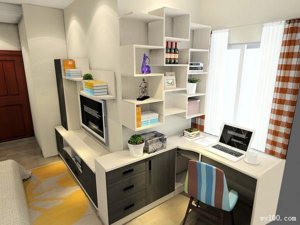 电视背景墙卧室效果图 18�O转角位置加入书桌_维意定制家具商城