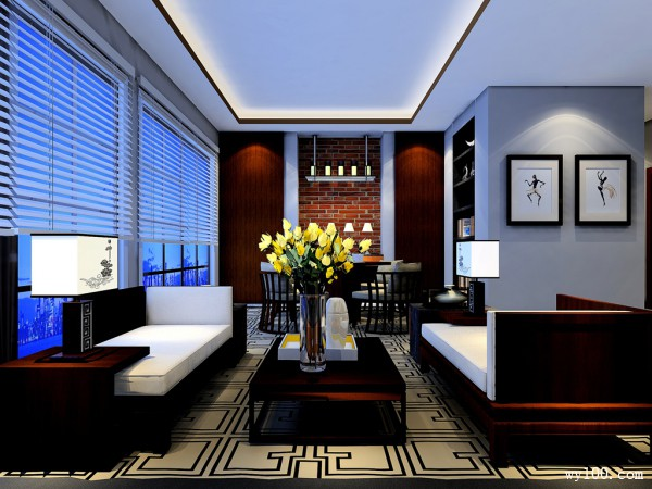 客餐厅装修效果图 24�O整体大气统一_维意定制家具商城