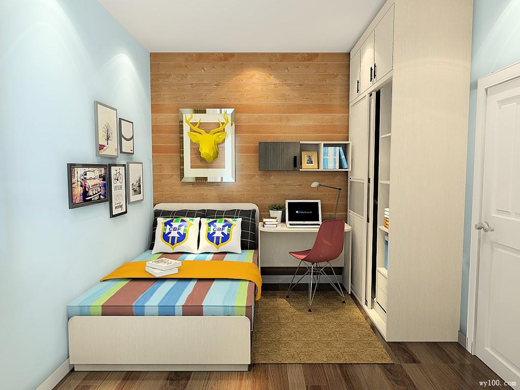 儿童卧室装修效果图 7㎡矮柜作为书柜图片