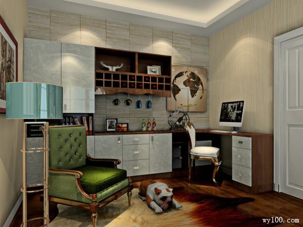 复古书桌卧室装修效果图