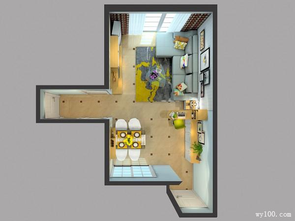 客餐厅背景墙效果图 42�O仿佛冬日的暖阳_维意定制家具商城