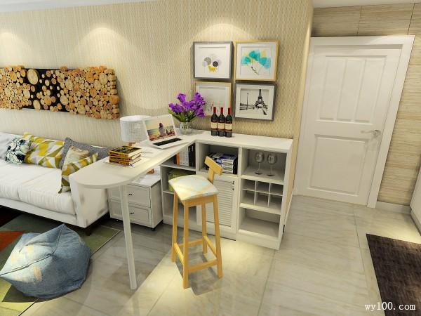 现代简约客餐厅效果图 35�O休闲也可以作为餐台_维意定制家具商城