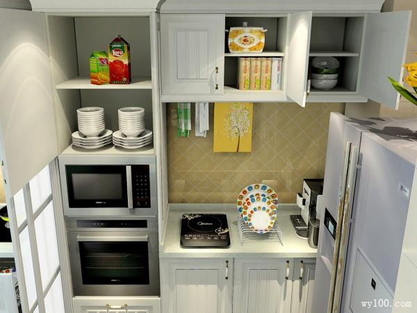 简欧厨房效果图 中西合璧风格明快_维意定制家具商城
