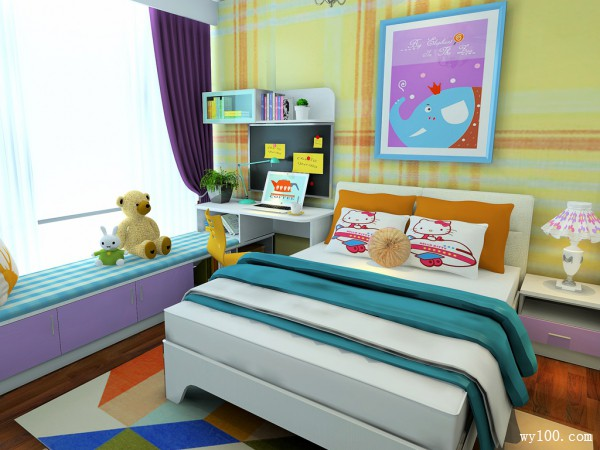 儿童房装修效果图 10�O满足孩子学习成长需求_维意定制家具商城