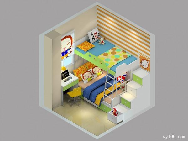 上下床儿童房设计 多色调调节空间氛围_维意定制家具商城