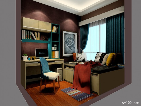 现代多功能室书房装修效果图