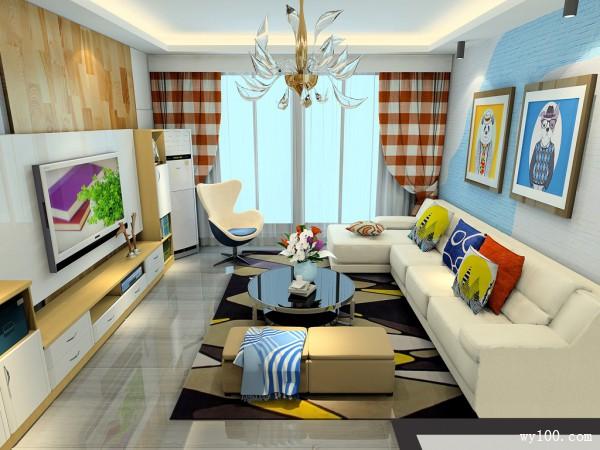 客餐厅装修效果图 37�O蓝黄色系为主_维意定制家具商城