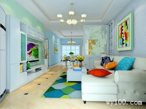 客餐厅装修效果图 45�O整体空间清爽时尚_维意定制家具商城