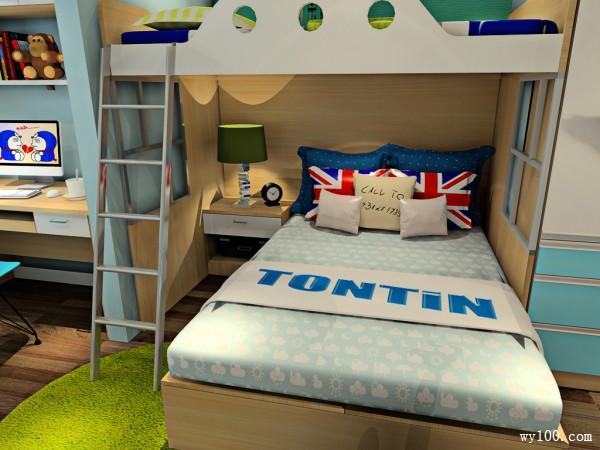 利用上下床节省空间设计 儿童房整体风格清新可爱_维意定制家具商城