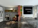 现代简约客餐厅效果图 柜体拼搭整体清新简洁_维意定制家具商城