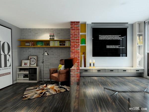 现代电视柜书房装修效果图