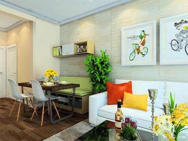 客餐厅装修效果图 20�O卡座式餐桌椅组合_维意定制家具商城