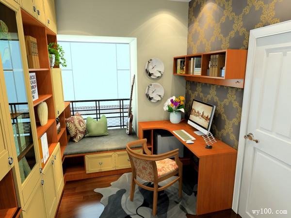复古书房效果图 6�O设计储物性与定制性强_维意定制家具商城