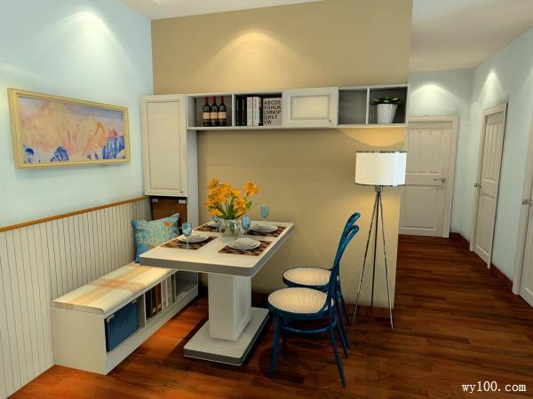 客餐厅装修效果图 20�O空间以蓝白色为主_维意定制家具商城