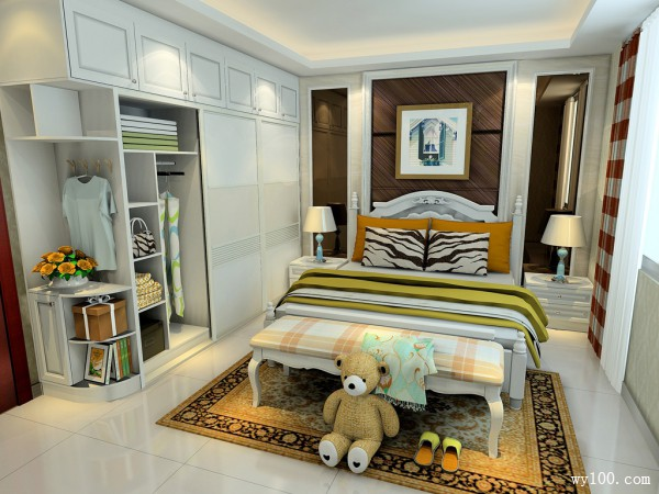 欧式氛围浓厚卧室风格效果图_维意定制家具商城