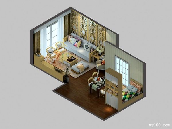 客餐厅装修效果图 38�O整体空间感觉儒雅_维意定制家具商城