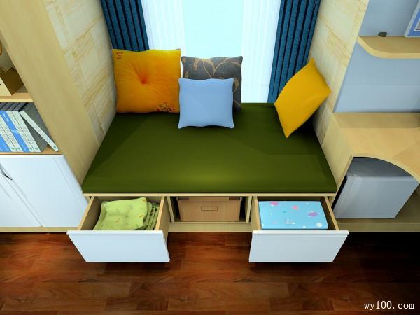 落地飘窗设计书房效果图_维意定制家具商城