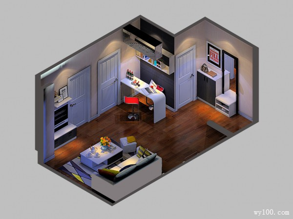 客餐厅装修效果图 21�O有效解决餐厅户型小_维意定制家具商城