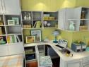 榻榻米书房 黄绿色的背景墙使整个空间更加清爽_维意定制家具商城
