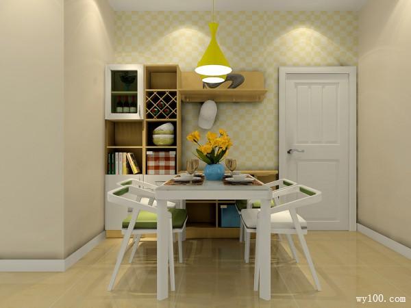 现代简约客餐厅 黄绿色调为主给人自然、质朴感_维意定制家具商城