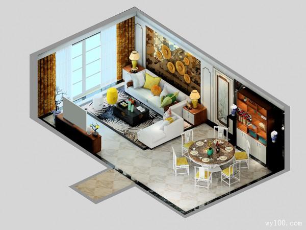 客餐厅装修效果图 36�O中式韵味且不失现代感_维意定制家具商城