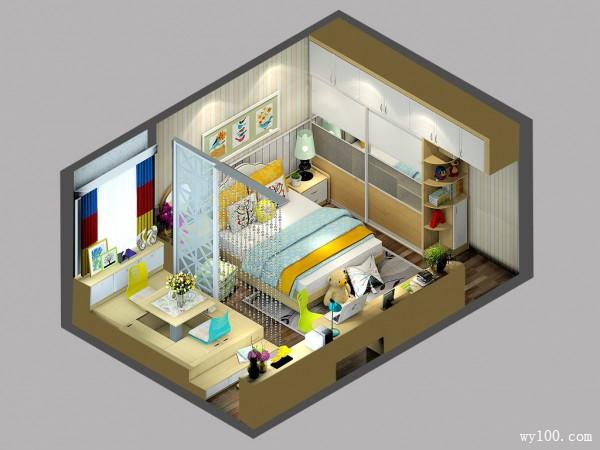 卧室装修效果图 19�O增加衣柜储物_维意定制家具商城
