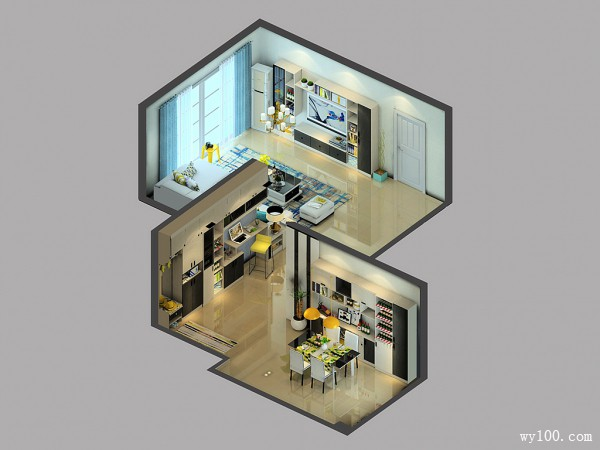 客餐厅装修效果图 85�O色调明亮舒服_维意定制家具商城