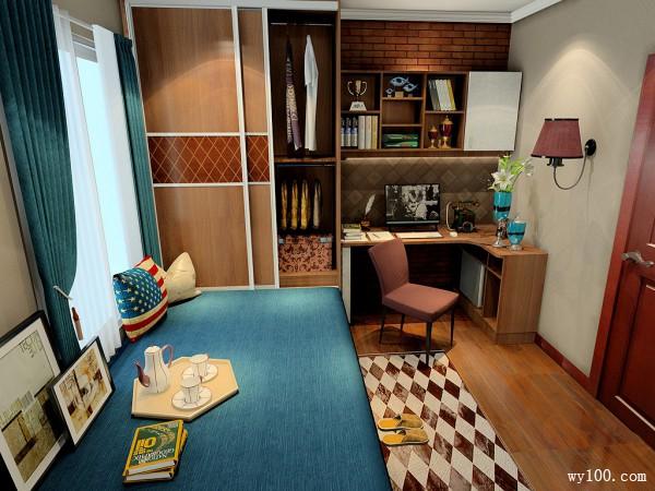 书房装修效果图 8�O整个空间充满成熟稳重感_维意定制家具商城