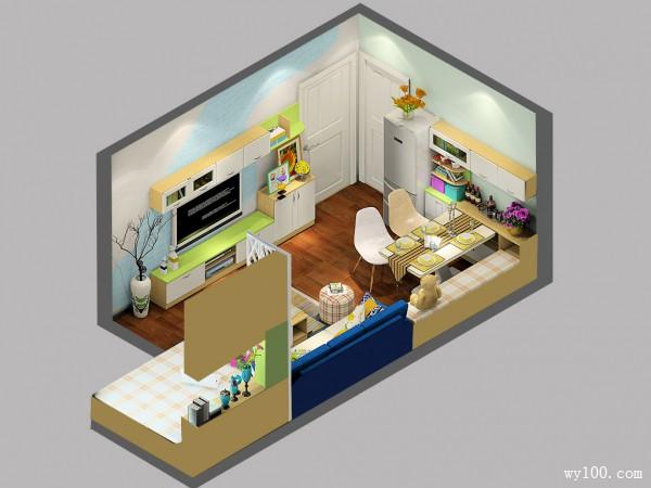 客餐厅装修效果图 21�O错落有致的电视柜_维意定制家具商城