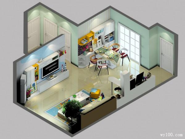 客餐厅装修效果图 60�O多功能转角吧台设计_维意定制家具商城