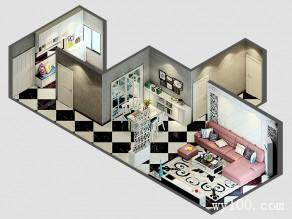 客餐厅效果图 96�O流露着简欧的气息_维意定制家具商城