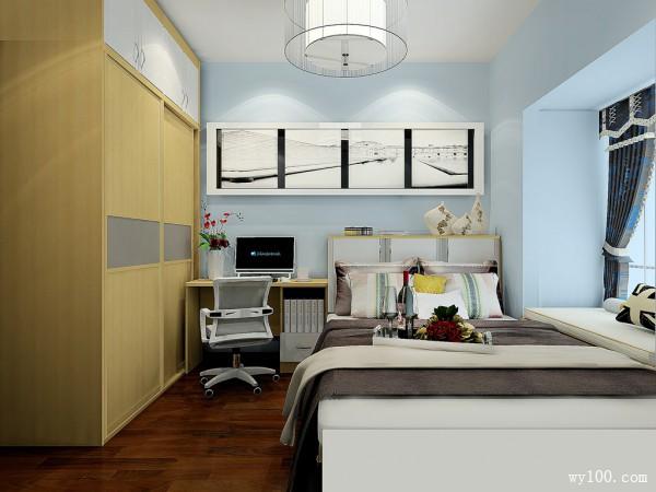 现代定制床卧室装修效果图