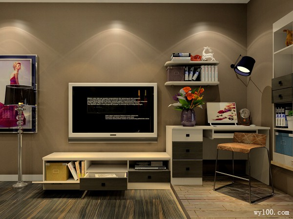 现代电视柜卧室装修效果图