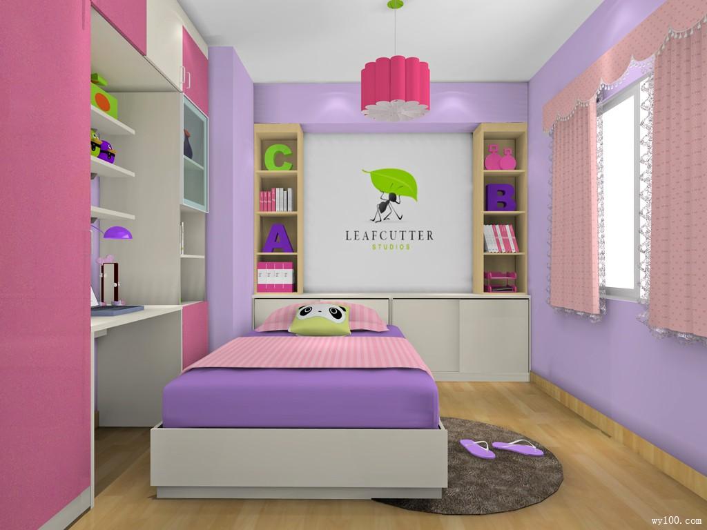 板木组合儿童房 粉色为主体_维意定制家具商城